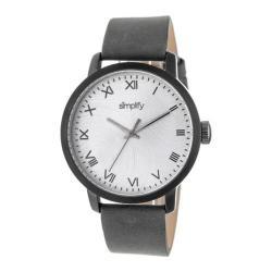 Men's Simplify The 4200 Quartz Watch Charcoal Leather/Silver