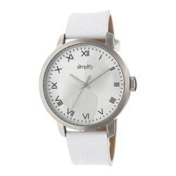 Men's Simplify The 4200 Quartz Watch White Leather/Silver