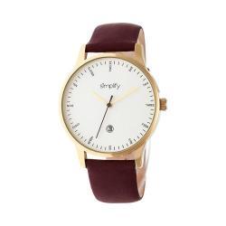 Men's Simplify The 4300 Quartz Watch Dark Brown Leather/White