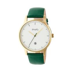 Men's Simplify The 4300 Quartz Watch Forest Green Leather/White