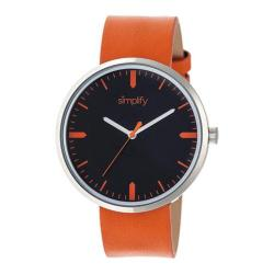 Men's Simplify The 4500 Quartz Watch Orange Leather/Black