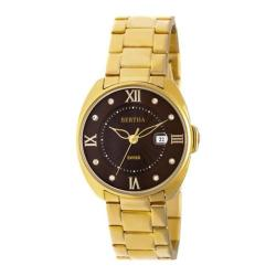 Women's Bertha Amelia BR6302 Watch Gold Stainless Steel/Dark Brown