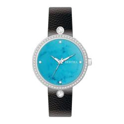 Women's Bertha Frances BR6402 Watch Black Leather/Cerulean