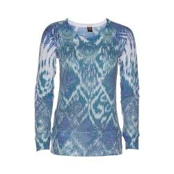 Women's Ojai Clothing Burnout L/S Crewneck Intense Blue