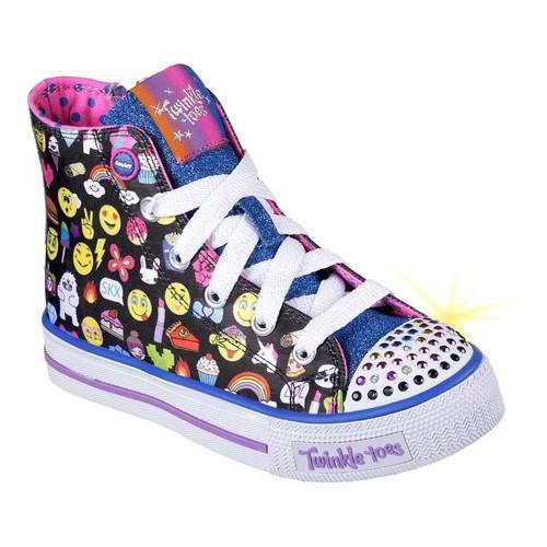 de41d33e52fdb Girls' Skechers Twinkle Toes Shuffles Chat Time High Top Sneaker  Black/Multi