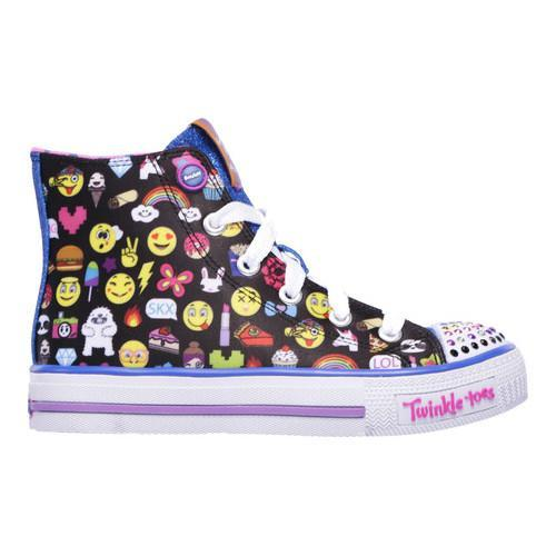 Skechers Girls' Twinkle Toes Shuffles Chat Time High Top Sneaker