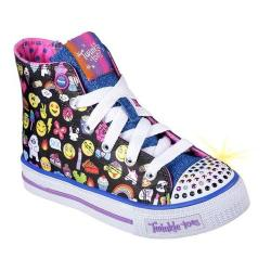 Girls' Skechers Twinkle Toes Shuffles Chat Time High Top Sneaker Black/Multi