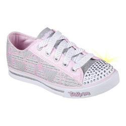 Girls' Skechers Twinkle Toes Shuffles Geometric Sneaker Gray/Pink