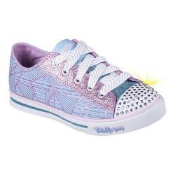 Girls' Skechers Twinkle Toes Shuffles Geometric Sneaker Light Blue/Lavender