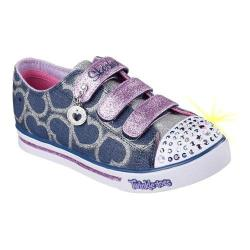 Girls' Skechers Twinkle Toes Shuffles Glitter Heart Sneaker Denim/Lavender