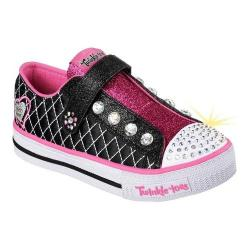 Girls' Skechers Twinkle Toes Shuffles Sparkly Jewels Slip On Shoe Black/Hot Pink