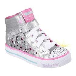 Girls' Skechers Twinkle Toes Shuffles Starry Spirit High Top Silver/Hot Pink