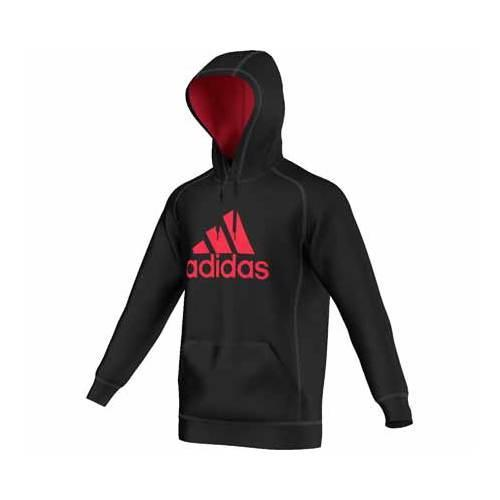 ca35d16f383b Shop Men s adidas Essentials Cotton Fleece Pullover Hoodie Black Ray Red -  Free Shipping On Orders Over  45 - Overstock - 13405064