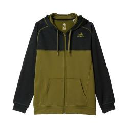 Men's adidas Team Issue Fleece Full-Zip Colorblock Hoodie Black/Olive Cargo