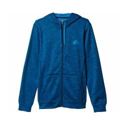 Men's adidas Team Issue Fleece Full-Zip Hoodie Unity Blue Heather/Unity Blue