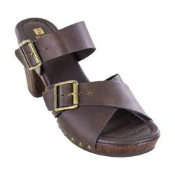Women's White Mountain Siesta Sandal Dark Brown Tumbled Smooth