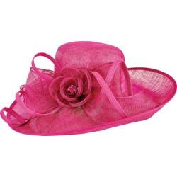Women's San Diego Hat Company Asymmetrical Sinamay with Self Tie and Bow DRS1012 Fuschia