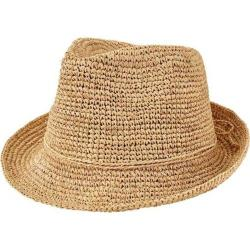 Women's San Diego Hat Company Crochet Raffia Fedora RHF6120 Natural