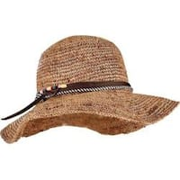 Women's San Diego Hat Company Crochet Raffia Round Crown Floppy Sun Hat RHM6008 Coffee