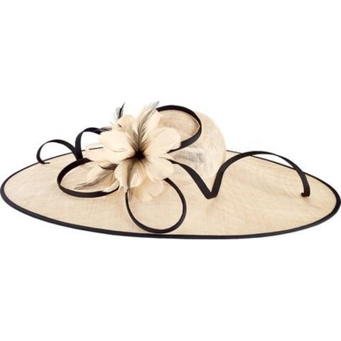 Women's San Diego Hat Company Oversized Fascinator with Feather Tie DRS1016 Natural