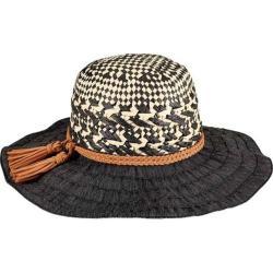 Women's San Diego Hat Company Mixed Paper Crown Ribbon Sun Brim Hat RBL4791 Black