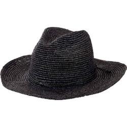 Women's San Diego Hat Company Pinched Crown Fedora Crochet Raffia RHM6005 Black