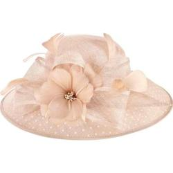 Women's San Diego Hat Company Sinamay Hat w/ Dot Overlay & Feather Trim DRS1013 Blush