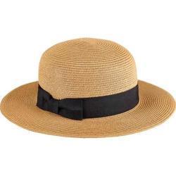 Women's San Diego Hat Company Ultrabraid Boater Hat with Grosgrain Bow UBM4461 Tobacco
