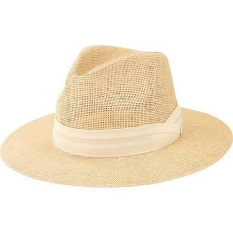 Men's San Diego Hat Company Woven 3in Brim Paper Fedora PBF7308in Natural