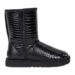 Women's UGG Classic Short Croco Boot Black