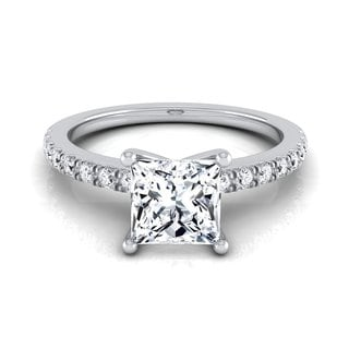14k White Gold IGI-certified 1 1/5ct TDW Princess-cut Center Classic Petite Split Prong Diamond Engagement Ring (H-I, VS1-VS2)