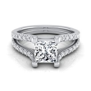 14k White Gold IGI-certified 1 1/2ct TDW Princess-cut Diamond Engagement Ring