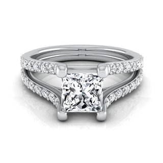 14k White Gold IGI-certified 1 1/2ct TDW Princess-cut Diamond Engagement Ring (More options available)