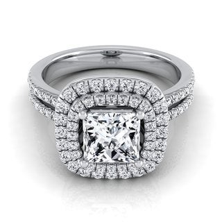 14k White Gold IGI-certified 1 2/5ct TDW Princess-cut Diamond Double Halo Engagement Ring (H-I, VS1-VS2)