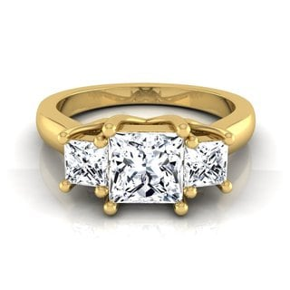 14k Yellow Gold IGI-certified 1 1/2ct TDW Princess-cut 3-stone Engagement Ring