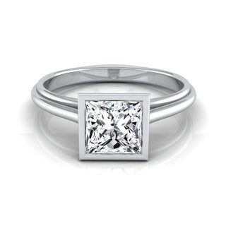 14k White Gold IGI-certified 1ct TDW Princess-cut Diamond Bezel Solitaire Engagement Ring