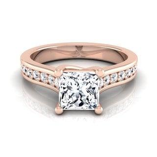 14k Rose Gold IGI-certified 1 1/3ct TDW Princess-cut Diamond Solitaire Engagement Ring (H-I, VS1-VS2)