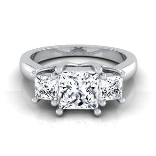 14k White Gold IGI-certified 1 1/2ct TDW Princess-cut 3-stone Engagement Ring (H-I, VS1-VS2) Shank