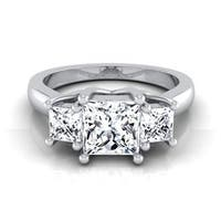 14k White Gold IGI-certified 1 1/2ct TDW Princess-cut 3-stone Engagement Ring Shank