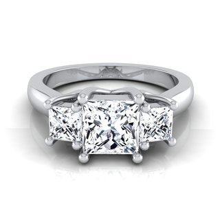 14k White Gold IGI-certified 1 1/2ct TDW Princess-cut 3-stone Engagement Ring Shank (More options available)
