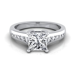 14k White Gold IGI-certified 1 1/6ct TDW Princess-cut Diamond Channel Engagement Ring