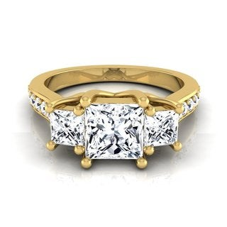 14k Yellow Gold IGI-certified 1 3/4ct TDW Princess-cut 3-stone Engagement Ring (H-I, VS1-VS2)