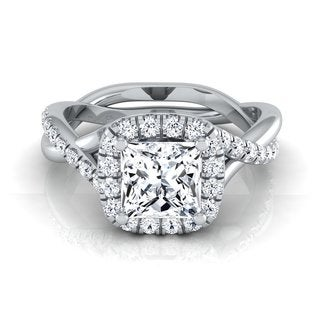 14k White Gold IGI-certified 1 2/5ct TDW Princess-cut Diamond Halo Engagement Ring (H-I, VS1-VS2)