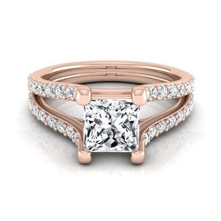 14k Rose Gold IGI-certified 1 1/2ct TDW Princess-cut Diamond Engagement Ring (H-I, VS1-VS2)