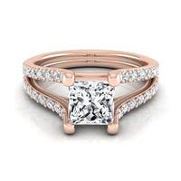 14k Rose Gold IGI-certified 1 1/2ct TDW Princess-cut Diamond Engagement Ring