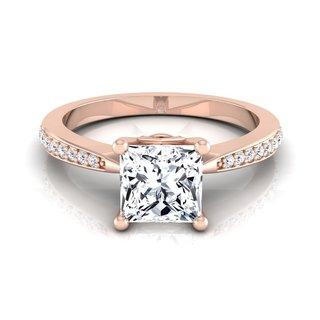 14k Rose Gold IGI-certified 1 1/8ct TDW Princess-cut Diamond Solitaire Engagement Ring (H-I, VS1-VS2)
