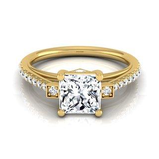 14k Yellow Gold IGI-certified 1 1/3ct TDW Princess-cut Diamond Engagement Ring (H-I, VS1-VS2)