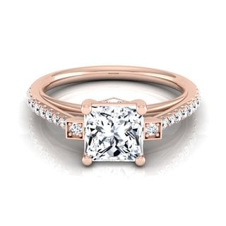 14k Rose Gold IGI-certified 1 1/3ct TDW Princess-cut Diamond Engagement Ring (H-I, VS1-VS2)