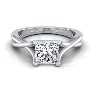 14k White Gold IGI-certified 1ct TDW Princess-cut Diamond Solitaire Engagement Ring (H-I, VS1-VS2)