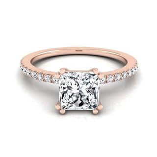 14k Rose Gold IGI-certified 1 1/6ct TDW Princess-cut Diamond Split Prong Engagement Ring (H-I, VS1-VS2)